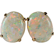 Natural Precious Opal Stud Earrings 3ctw 14k Gold Opal Studs Genuine Opal Earrings