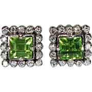 Natural Peridot Diamond Earrings 10k Gold Screw Back Studs Diamond Peridot Stud Earrings