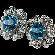 Swiss Blue Topaz Diamond Earrings 14k Topaz Flower Stud Earrings Diamond Topaz Studs