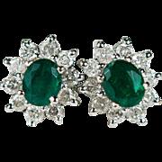 Emerald Diamond Stud Earrings 14k Gold Classic Diamond Halo Emerald Studs