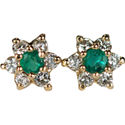 Natural Emerald Diamond Earrings 14k Gold Diamond Halo Emerald Stud Earrings