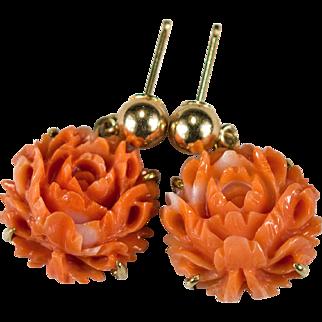 Natural Coral Carved Rose Earrings 18k Gold Salmon Angel Skin Coral Earrings