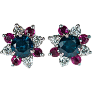 Red White Blue Patriotic Ruby Diamond Earrings 2.42ctw 14k Gold Screw Back Martini Studs Solitaire Blue Diamond Ruby Stud Jackets