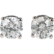Solitaire Diamond Stud Earrings 14k Gold .62ctw Diamond Studs Natural Diamond Earrings