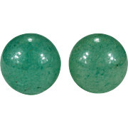 Natural Jade Stud Earrings 14k Plumb Gold 8mm Beaded Jade Earrings Jade Bead Studs