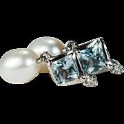 Natural Aquamarine Diamond Pearl Earrings 14k Gold Dangle Cultured Pearl Aquamarine Diamond Earrings