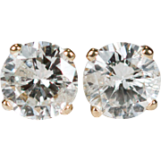 Solitaire Diamond Stud Earrings .67ctw 14k Gold Diamond Studs Natural Diamond Earrings