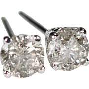 Solitaire Diamond Stud Earrings .90ctw 14k Gold Diamond Studs Natural Diamond Earrings