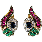 Ruby Sapphire Emerald Diamond Earrings 3.75ctw 18k Gold Pierced Or Clip On Owl Eyes Mixed Gemstone Earrings