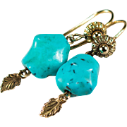 Turquoise Earrings 14k Gold French Hook Etruscan Dangle Leaf Turquoise Nugget Earrings