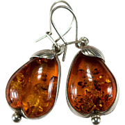 Baltic Amber Pear Earrings 925 Sterling Fruit Pear Amber Earrings