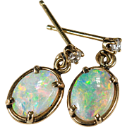Natural Opal Diamond Earrings 14k Gold Dangle Opal Earrings