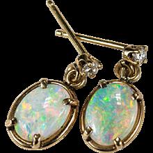 Natural Opal Diamond Earrings 14k Gold Dangle Opal Earrings