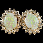 Natural Precious Opal Diamond Earrings 14k Gold Screwback Studs Diamond Halo Opal Earrings