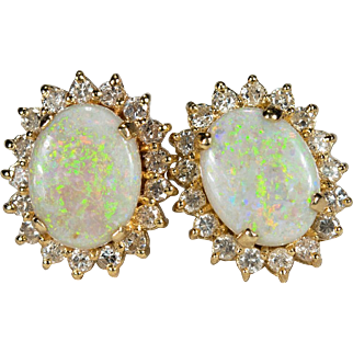 Natural Precious Opal Diamond Earrings 14k Gold Screwback Studs Diamond Halo Opal Earrings