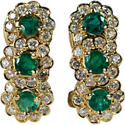 Flower Emerald Diamond Earrings 14k Gold Omega Back Pierced Diamond Emerald Earrings