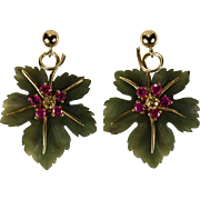 Carved Jade Leaf Ruby Sapphire 14k Gold Hand Carved Natural Jade Earrings