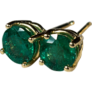 Solitaire Emerald Stud Earrings 1.32ctw 14k Gold Natural Emerald Earrings
