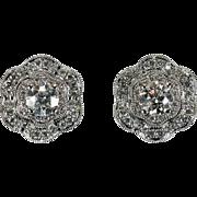Ballerina Diamond Earrings 1.75ctw 14k Gold Double Halo Diamond Stud Earrings
