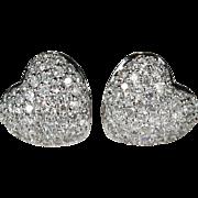 Pave Diamond Heart Stud Earrings 14k Gold 1.56ctw Puffy Heart Diamond Studs