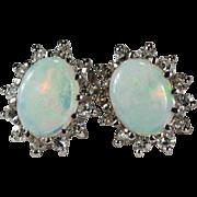 Natural Opal Diamond Halo Earrings 14k Gold Diamond Opal Studs