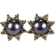 Pearl Diamond Stud Earrings 14k Gold Cultured Tahitian Pearl Diamond Jackets Studs