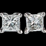 Solitaire Diamond Studs Platinum 950 Screw Back Studs Princess Cut Diamond Stud Earrings