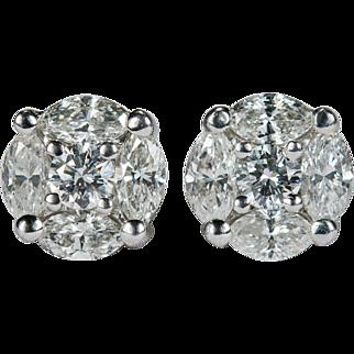 Diamond Stud Earrings 2.50ctw 14k Gold Diamond Earrings