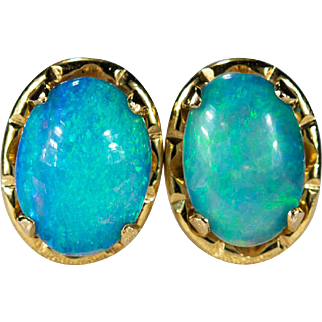 Natural Precious Opal Stud Earrings 14k Gold Opal Studs
