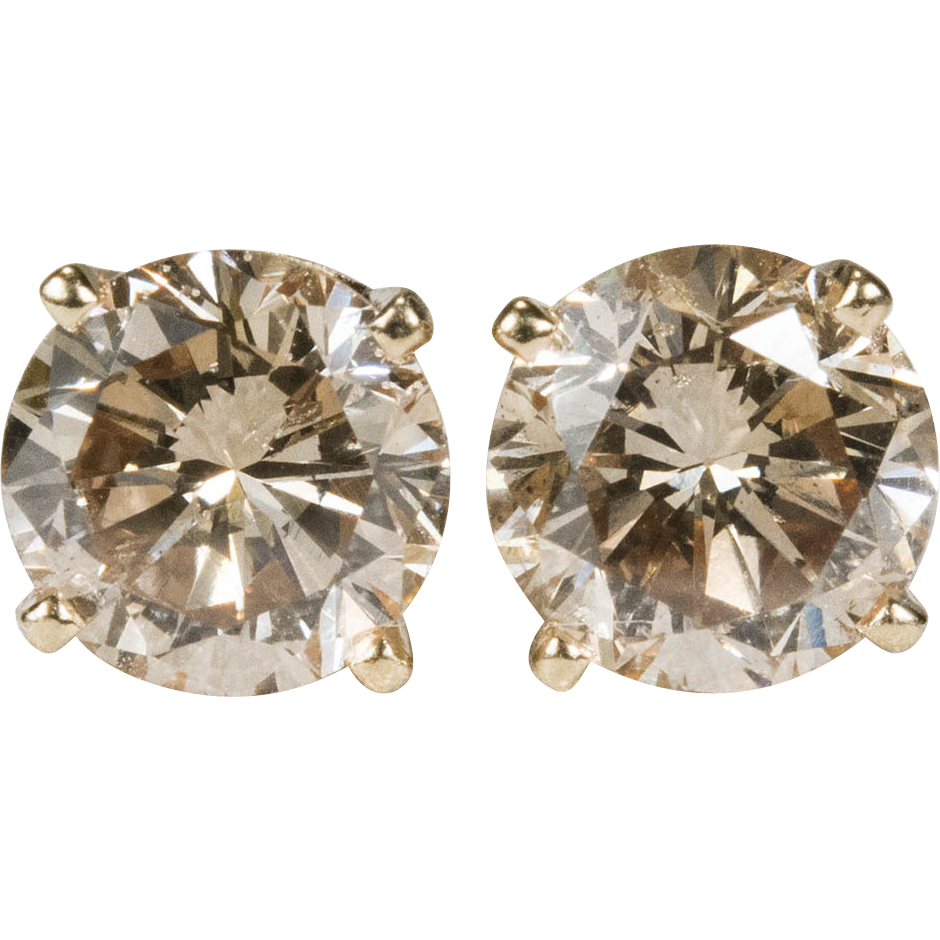 products diamond stud stone solitaire use champagne earrings yellow gold