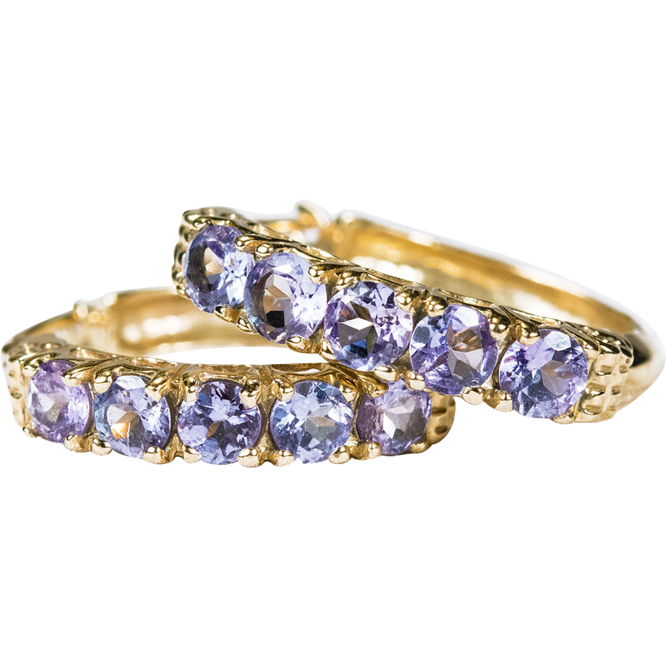 Genuine Tanzanite Hoop Earrings 14k Gold 3 4 Hoops Sold Ruby Lane
