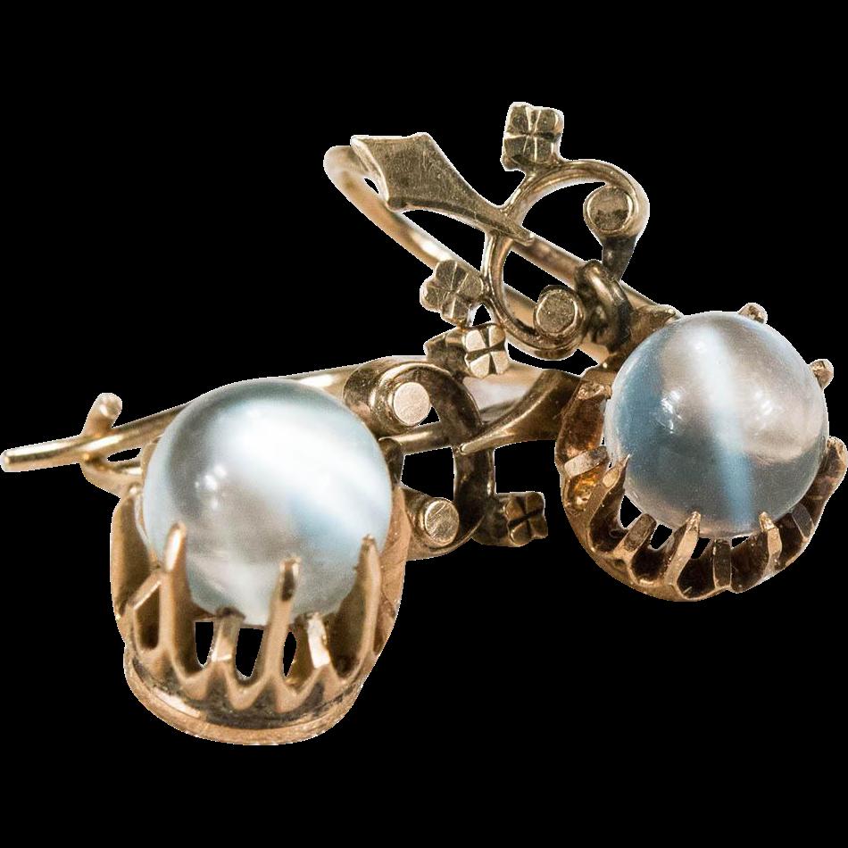Victorian cats eye moonstone earrings 10k gold pierced for Cat s eye moonstone jewelry