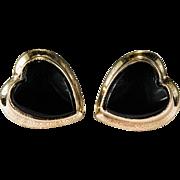 Natural Black Onyx Heart Studs 10k Gold PS & Co Designer Screw Back Stud Earrings