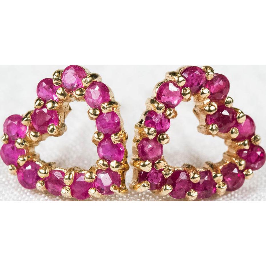 Genuine Ruby Open Heart Earrings 10k 14k Plumb Gold Pierced Stud Earrings