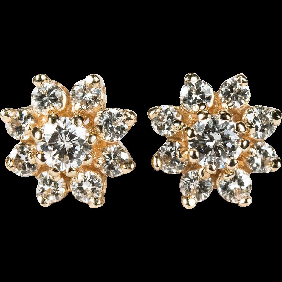 natural diamond earrings 14k gold screw back 94ctw flower. Black Bedroom Furniture Sets. Home Design Ideas