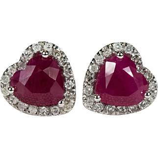 2.50ctw Heart Ruby Diamond Stud Earrings 10k Gold Screw Back Diamond Halo Ruby Heart Studs