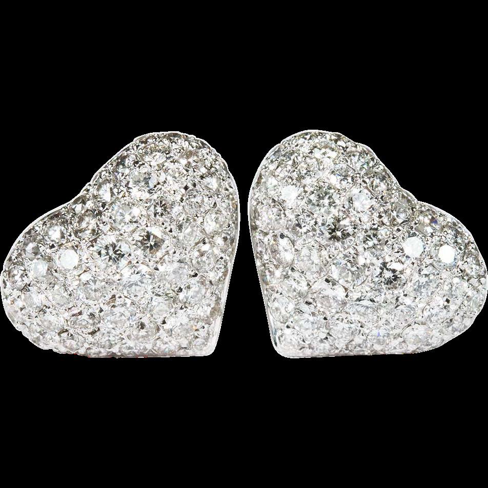 Diamond heart earrings - 2 80ctw Heart Diamond Stud Earrings 585 14k White Gold Pierced