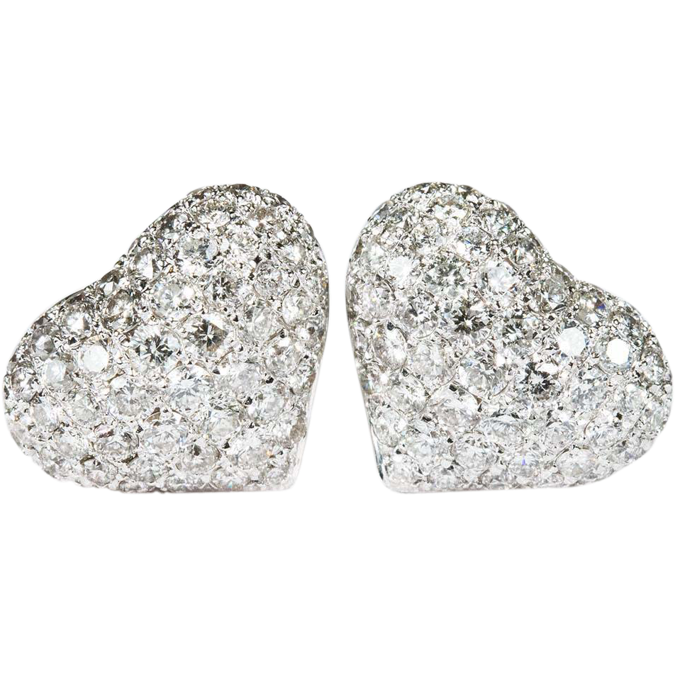 2 80ctw Heart Diamond Stud Earrings 585 14k White Gold Pierced Pave Tanya S Treasures Ruby Lane