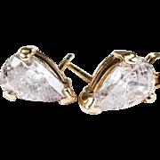 Huge 2.64ctw Solitaire Pear Cut Diamond Stud Earrings 14k Gold Diamond Studs Natural Diamond Earrings