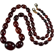 Antique Natural Cherry Amber Necklace Beaded Strand