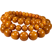 Opera Length Natural Butterscotch Amber 23mm Beaded Necklace