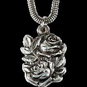 Secret Roses Slide Pendant 925 Sterling Silver Snake Chain Religious Miraculous Medal Necklace