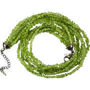 Silpada Peridot Necklace 925 Sterling Silver Six Strand Nugget Necklace