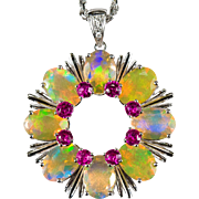 Natural Yellow Fire Opal Pink Tourmaline Diamond Pendant 18k Gold Circle Opal Pendant Necklace Rope Chain