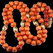"""Vintage Natural Mediterranean Coral 30"""" 10k Gold Beaded Necklace Strand"""