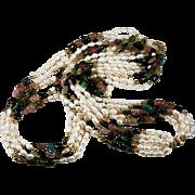 Opera Length Tourmaline Freshwater Pearl Necklace 585 14k Gold 5 Strand