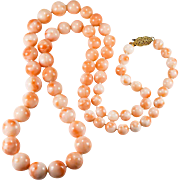 "Natural Angel Skin Coral 14k Gold 24"" Beaded Strand Coral Necklace"