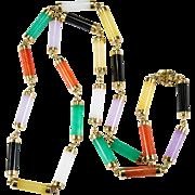 Genuine Mixed Jade Necklace 14k Gold Bar Jade Necklace