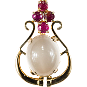 Natural Moonstone Ruby Necklace 585 14k Gold Cats Eye Musical Harp Moonstone Pendant