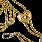 "Antique Watch Chain Etruscan Pearl Heart Slide 10k Gold 48"" Guard Chain"